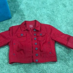 Like new cropped red jean jacket